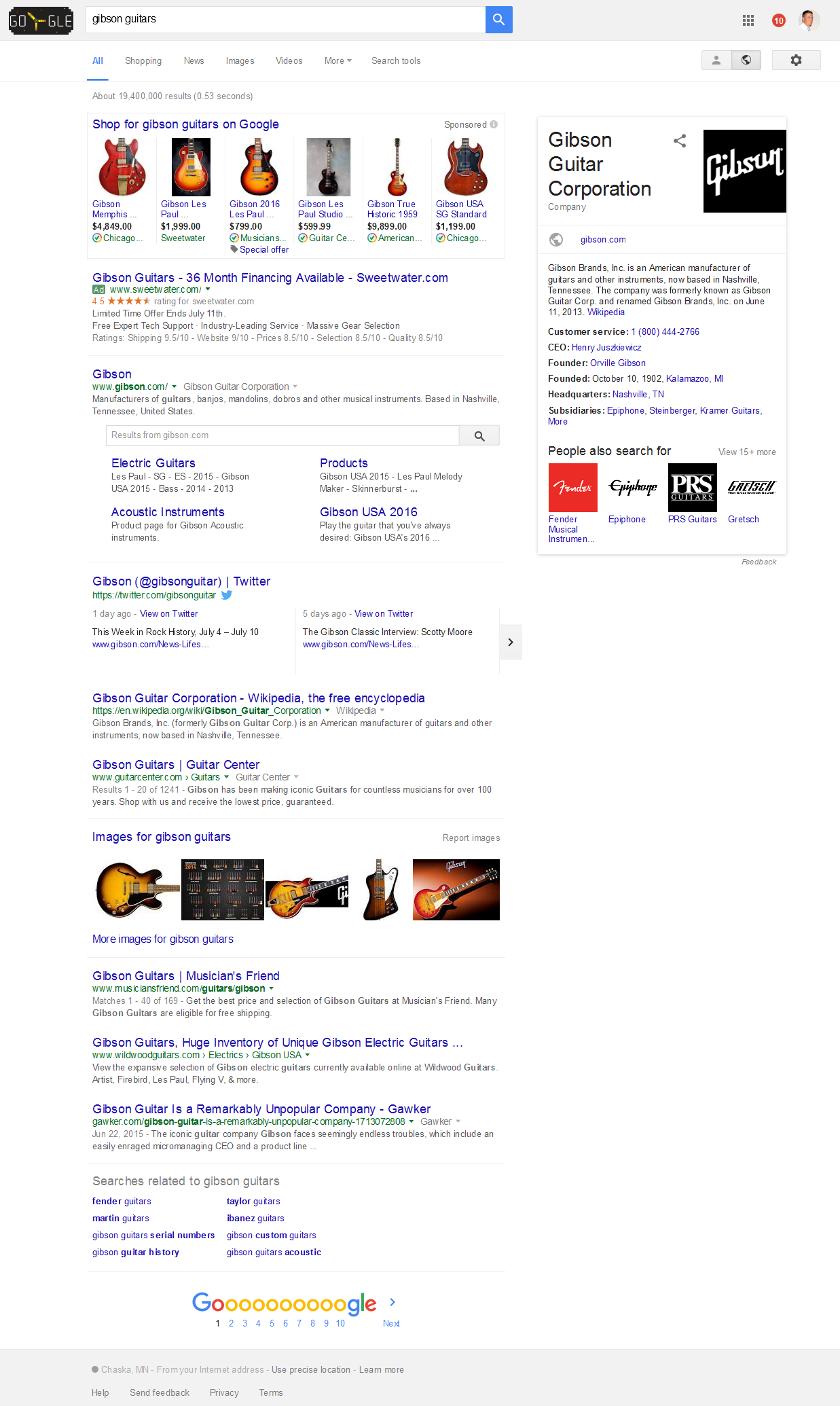 Screenshot - Gibson Guitars - Google SERPS - 2016-07-05