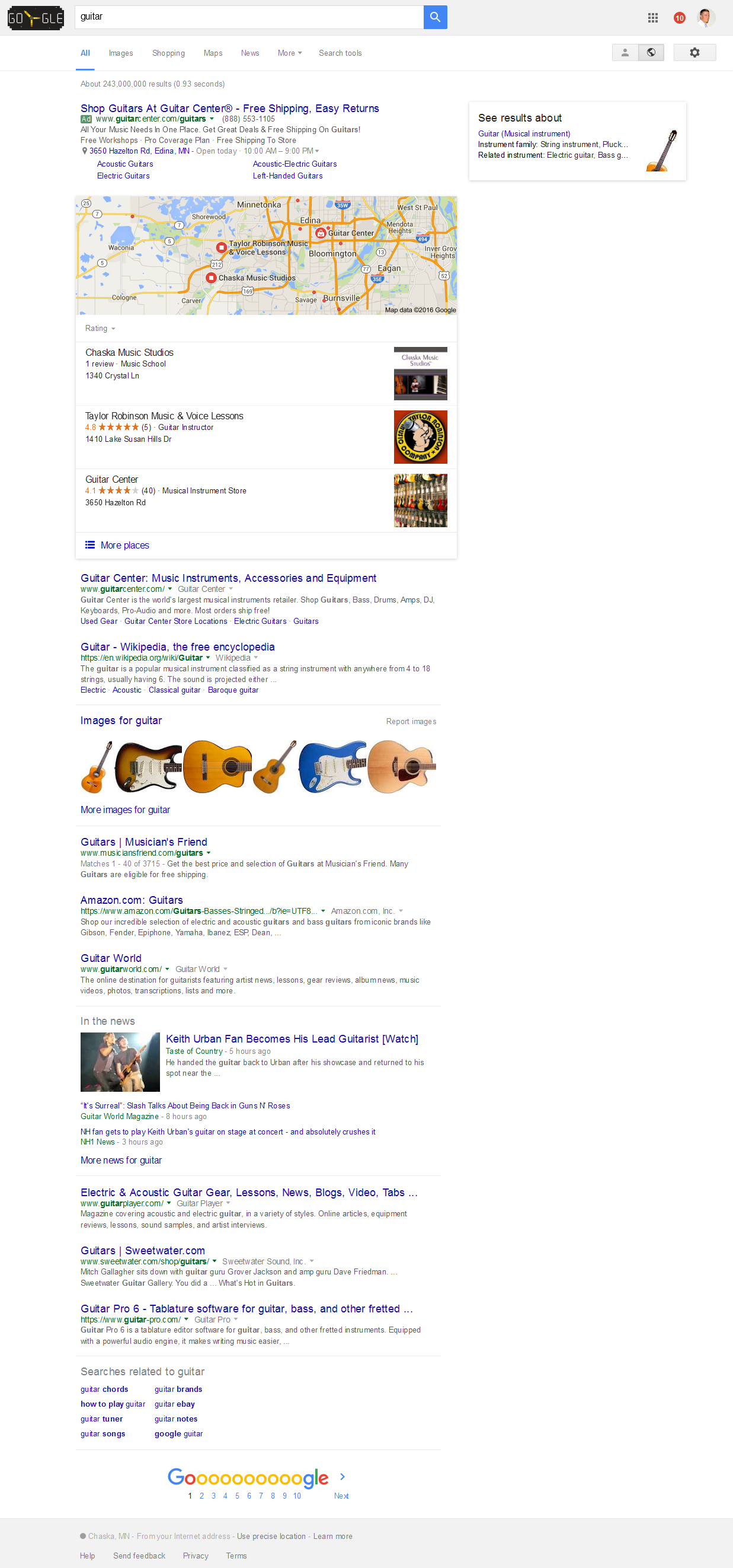 Screenshot - Guitar Google SERPS 2016-07-05