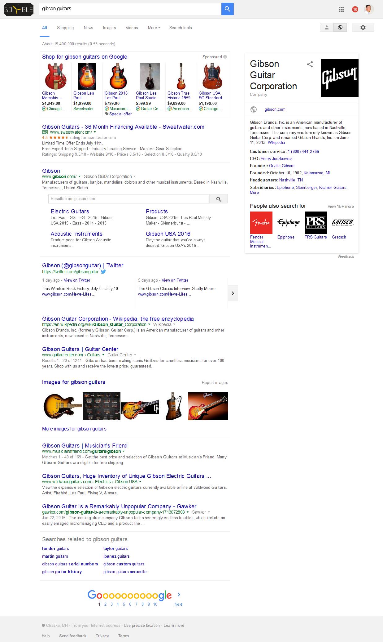 Screenshot - Gibson Guitars - Google SERPS - 2016-07-05