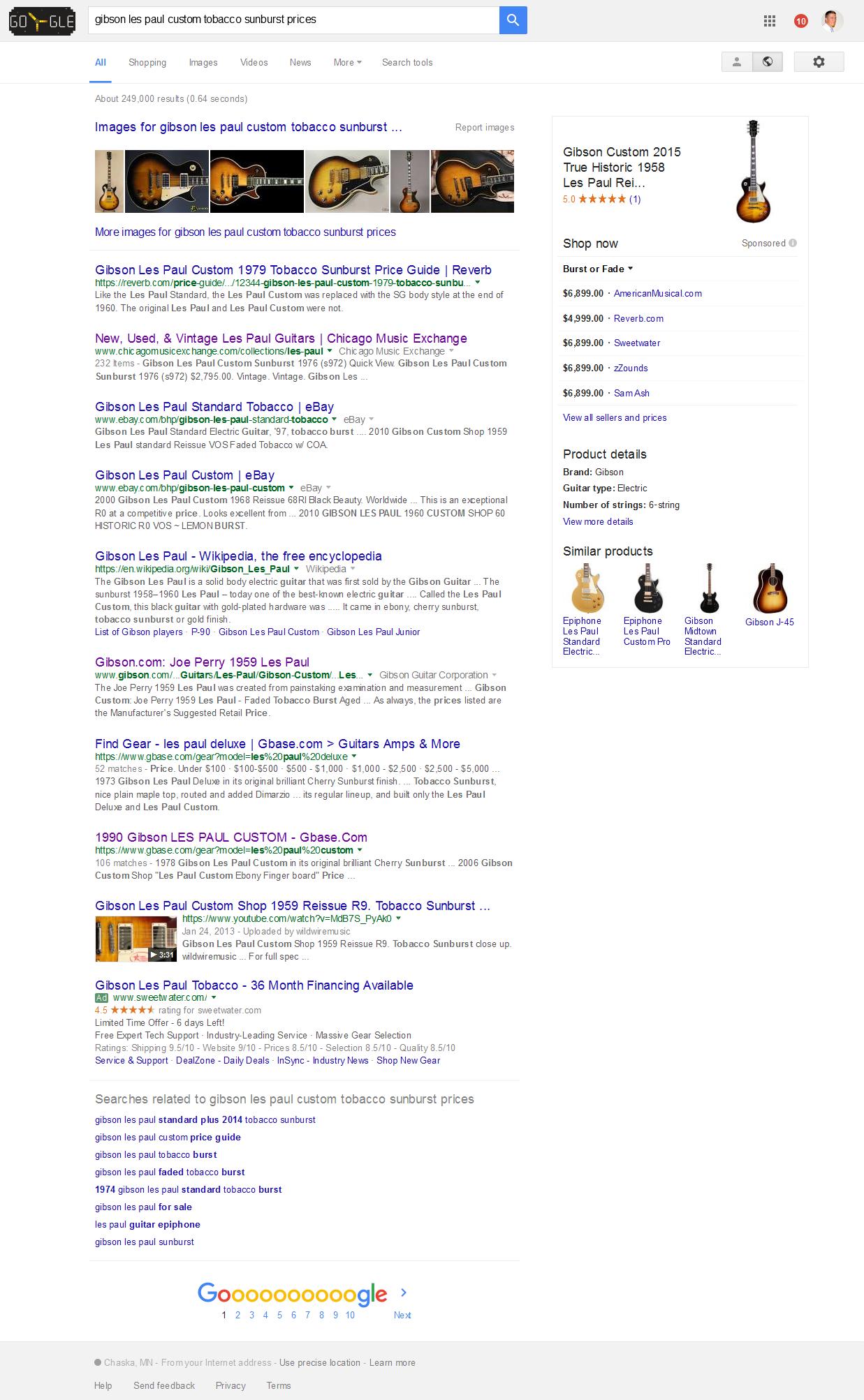 Screenshot - Gibson Les Paul Custom Tobacco Sunburst Prices - Google SERPS - 2016-07-05