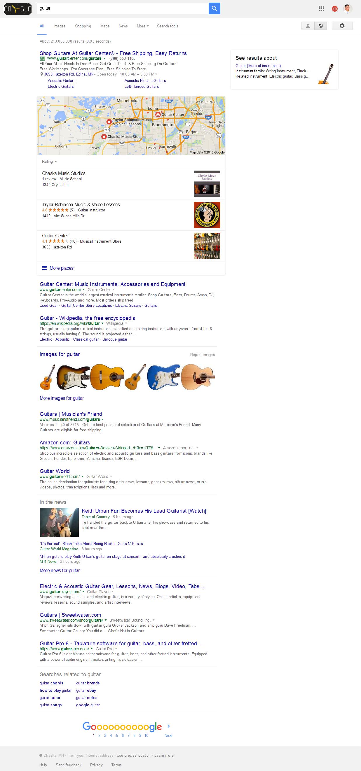 Screenshot - Guitar Google SERPS 2016-07-05