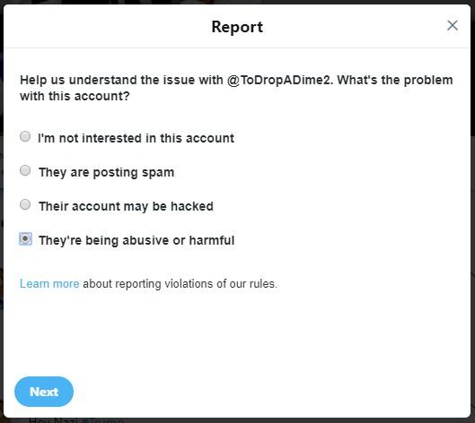 Screenshot: Twitter - Reporting An Account